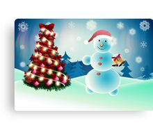 Snowman and Christmas tree Canvas Print
