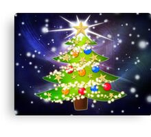Cartoon Christmas tree background Canvas Print