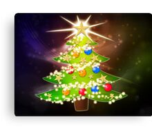 Cartoon Christmas tree background 2 Canvas Print