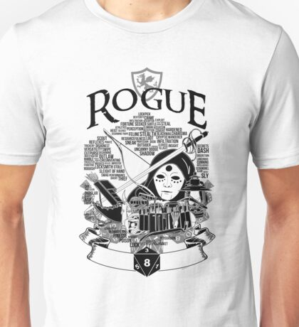 RPG Class Series: Rogue - Black Version Unisex T-Shirt