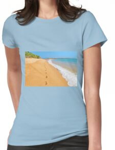 Footprints on sunny beach by emerald sea Womens Fitted T-Shirt