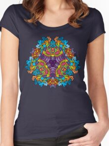Psychedelic jungle kaleidoscope ornament 30 Women's Fitted Scoop T-Shirt