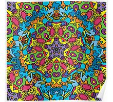 Psychedelic jungle kaleidoscope ornament 31 Poster