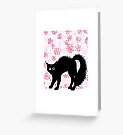 """Am I scary?"", cute black cat, ink sketch Greeting Card"