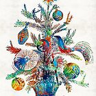 Colorful Christmas Tree Art by Sharon Cummings by Sharon Cummings
