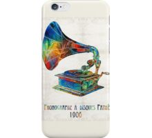 Colorful Phonograph Art by Sharon Cummings iPhone Case/Skin