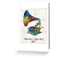Colorful Phonograph Art by Sharon Cummings Greeting Card
