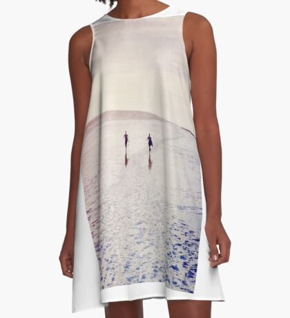 Surfers in the snow. A-Line Dress