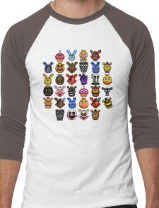 NEW - FNAF Multiple Animatronics - (Dec 2016) - Pixel art Men's Baseball ¾ T-Shirt