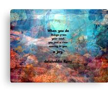 Rumi Inspirational JOY Quotation With Underwater Ocean Scene Canvas Print