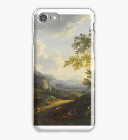 Circle of Isaac de Moucheron  An extensive Italiante landscape at sunset, with figures and cattle resting on a path iPhone Case/Skin