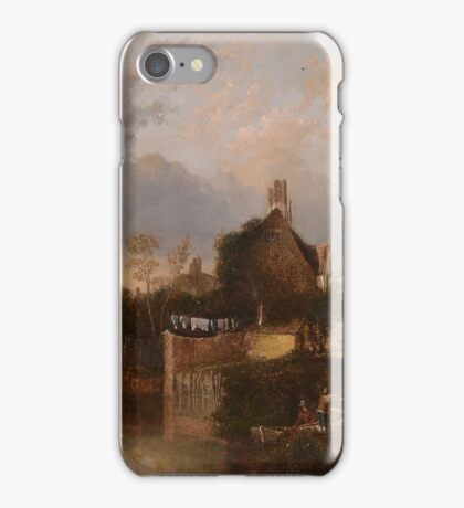 Circle of John Crome the Elder  Riverside cottage, with two figures in a rowing boat iPhone Case/Skin