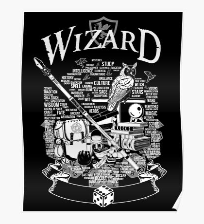 RPG Class Series: Wizard - White Version Poster