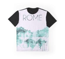Rome Watercolor Blue Skyline of the Italian Capital,Modern Italian Art Graphic T-Shirt