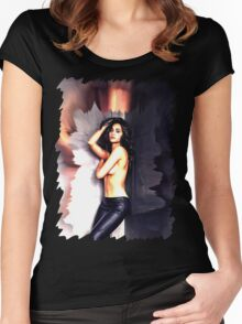 Emmy Rossum - Celebrity (Oil Paint Art) Women's Fitted Scoop T-Shirt