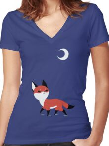 Moon Fox Women's Fitted V-Neck T-Shirt