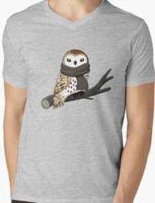 Winter Owl Mens V-Neck T-Shirt