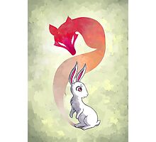Rabbit and a Fox Photographic Print