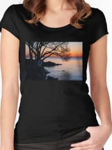 Just Before Sunrise - Bright Cold and Colorful on the Lakeshore Women's Fitted Scoop T-Shirt