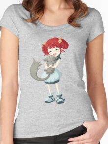 Girl and a Cat Women's Fitted Scoop T-Shirt
