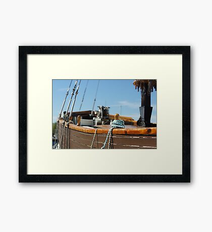 old sailing boat rigging Framed Print