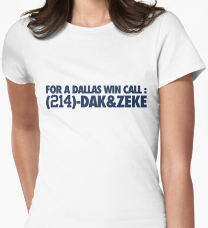 For A Dallas Win Call (214)-Dak&Zeke (Blue) Womens Fitted T-Shirt