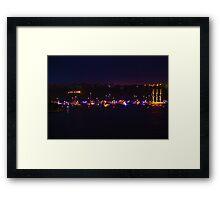 Twinkling Lights Of Boats Lined Up  Framed Print