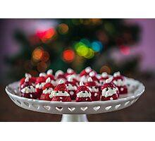 Christmas Strawberry Santas Photographic Print