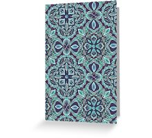 Chalkboard Floral Pattern in Teal & Navy Greeting Card