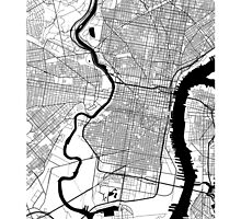 Philadelphia Black and White Map by CartoCreative