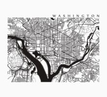 Washington DC Black and White Map Art Kids Clothes