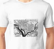Washington DC Black and White Map Art Unisex T-Shirt