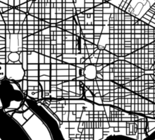 Washington DC Black and White Map Art Sticker