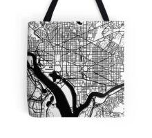 Washington DC Black and White Map Art Tote Bag