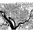 Washington DC Black and White Map Art by CartoCreative