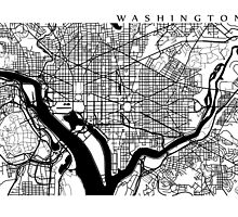 Washington DC Black and White Map Art by CartoCreative