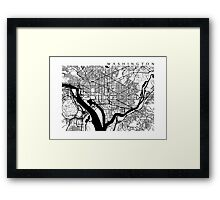 Washington DC Black and White Map Art Framed Print