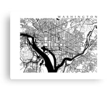 Washington DC Black and White Map Art Metal Print