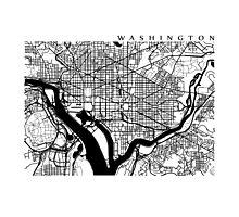 Washington DC Black and White Map Art Photographic Print