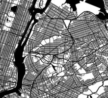 New York City Black and White Map - NYC Sticker