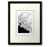 Honolulu Black and White Map Framed Print