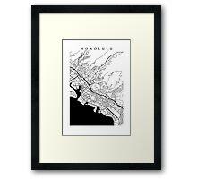 Honolulu Black and White Map Framed Print