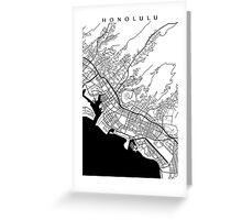 Honolulu Black and White Map Greeting Card