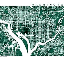 Washington DC Map Art  by CartoCreative
