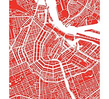 Amsterdam, Netherlands Map Art by CartoCreative