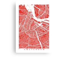 Amsterdam, Netherlands Map Art Canvas Print