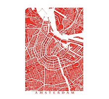 Amsterdam, Netherlands Map Art Photographic Print