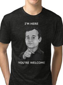 Bill Murray - I'm Here You're Welcome White Writing Tri-blend T-Shirt