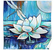 Serenity Lotus with Dragonfly Poster