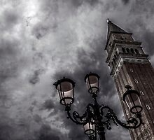 Bell tower and street lamp by Roberto Pagani
